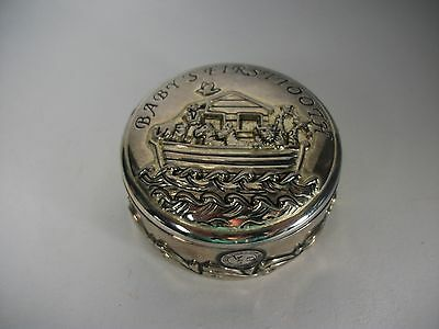 Godinger My First Tooth Noah's Ark Silver Baby Keepsake Round Trinket Small Box