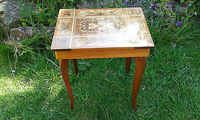 Vintage Inlaid Wood Musical Table, Made In Italy *