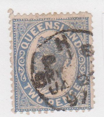 (AA-388) 1897 QLD 2d blue side face (G)
