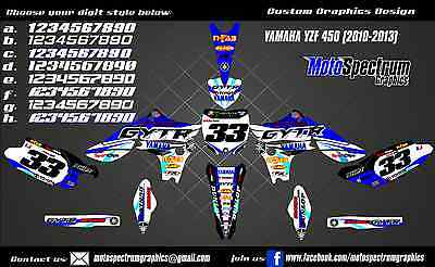 Yamaha YZF 450 graphics kit 2010 2011 2012 2013 Decals Stickers