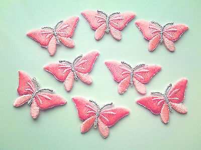 Pink Iron On Embroidered Butterfly Appliques / Motif / Trim 36 mm
