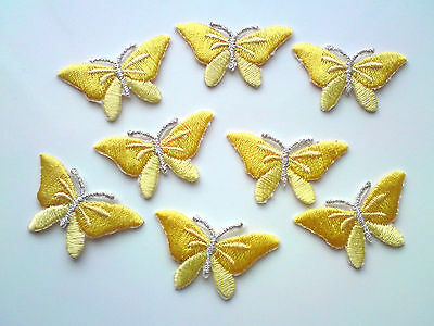 Yellow Iron On Embroidered Butterfly Appliques / Motif / Trim 36 mm