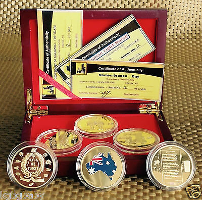 3xMEDALLIONS_GALLIPOLI+LIGHT HORSE+REMEMBRANCE DAY-COLLECTABLE-GOLD PLATED_inBOX