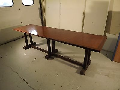 Large Vintage Dining Table. Cherry Wood. Early 20th Century. 9 foot Long!
