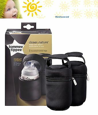 Tommee Tippee Closer to Nature Insulated Bottle Warm Cold Bag x 2