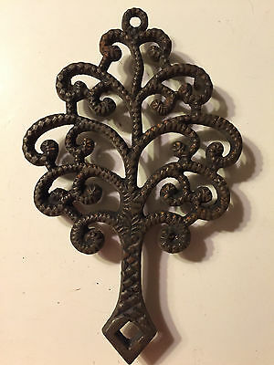 Vintage Black Cast Iron Trivet Family Tree 9-7 Hot Plate Wall Hanging Footed