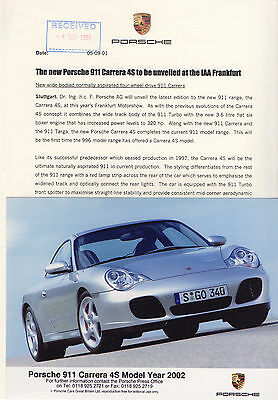 Porsche 911 Carrera 4S Launch Press Release/Photographs - 2002 Model Year