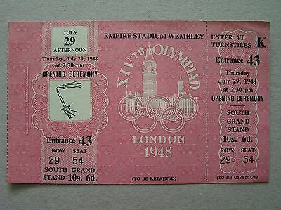 "1948 Original ""unused"" London Olympic Games Opening Ceremony Ticket 29/07/1948"