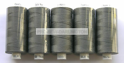 5 X REELS DARK GREY MOON POLYESTER SEWING THREADS COTTON 120s ( 111 )