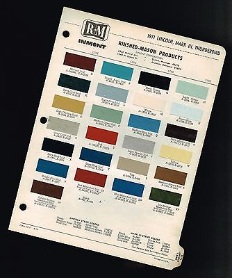 1971 LINCOLN COLOR Chip CHART Paint Brochure : CONTINENTAL,MARK MK. 3 III,T-Bird
