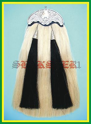 Scottish Real Horsehair Horse Hair Pipers Kilts Leather Sporran Belt Chain Free! • EUR 130,91