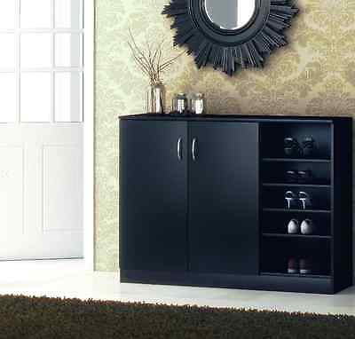 Shoe Storage Unit Black Cabinet with Shelving and Doors Modern Home Furniture