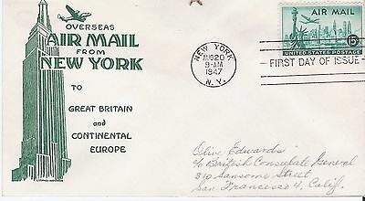 Scott C35 1947 15 cent Air Mail US FDC with Anderson cachet