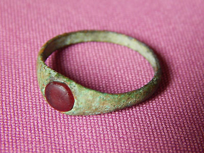 Ancient Rome, Bronze Ring with Stone, 2 - 5 century , Big