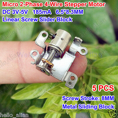 5Pcs DC 3V-5V 2-Phase 4-Wire Micro Mini Stepper Motor with metal slider block