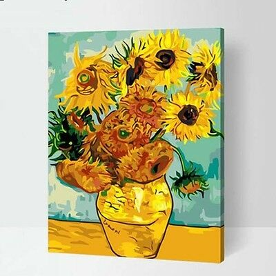 Famous Painting by Van Gogh DIY Number Digital Oil Painting Wall Paint Sunflower