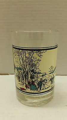 Arby's Currier & Ives Highball Cocktail Glass Winter Pastime 2 of 4 1978