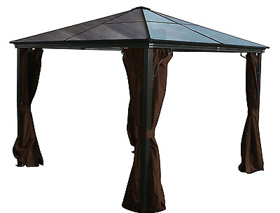 Aluminum Hard Top Gazebo Casa PC Roof - 10x10 with Mosquito Netting Incld US
