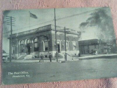 Henderson Kentucky Post Office Postcard Posted 1908 From Irvington Ky.