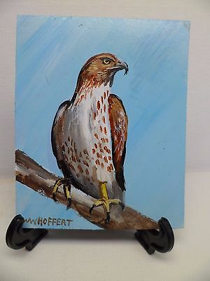 Red-Tailed Hawk- Hand Painted On Tile With Easel By Artist W. W. Hoffert