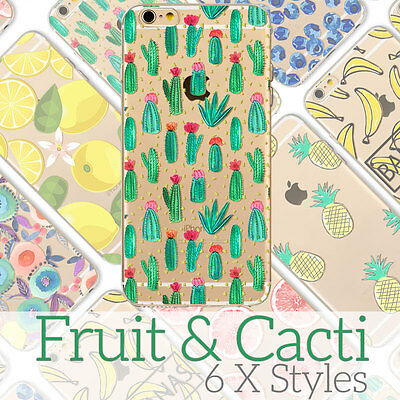 Cute Cactus Fruit Cartoon Doodle Case Ultra Thin Soft Cover for iPhone Xs 6 7 8+
