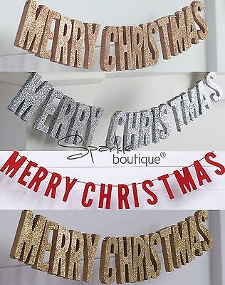 'MERRY CHRISTMAS' WOODEN BUNTING -Luxury Festive Xmas Garland/Hanging Decoration