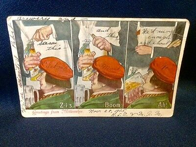 1905 Pabst Bue Ribbon Beer Pre Prohibition Postcard Saloon Ad Milwaukee WI