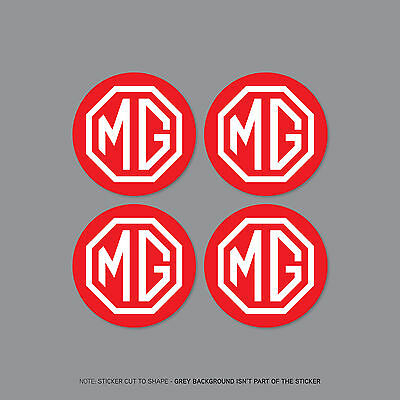 SKU2229-4 x MG Red//White Alloy Wheel Centre Cap Stickers Decals Car 50mm