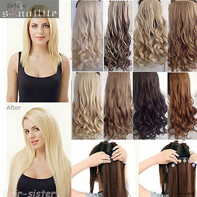 1 Piece Full Head Clip in Thick Remy Hair Extensions Wavy Straight for human SL6