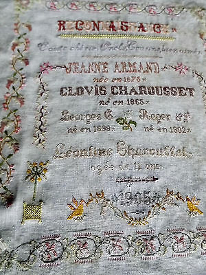 EARLY FRENCH SAMPLER 1875,  hand embroidered by LEONTINE CHAROUSSET 11 YRS OLD