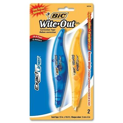 BIC Wite-Out Exact Liner Correction Tape Pen, 2 Correction Tapes 50744