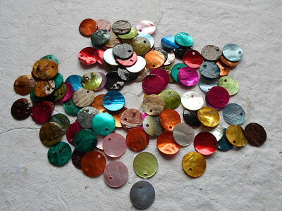 100 x 15mm Mixed coloured Shell Disc Beads