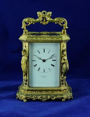 Fine Repeating Carriage Clock Japy Freres  Caryatids