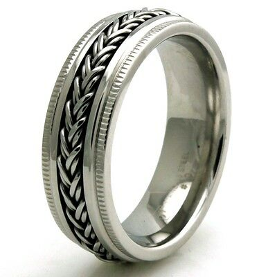 Stainless Steel Wheat Chain Biker Mens Wedding Band 7MM | FREE ENGRAVING