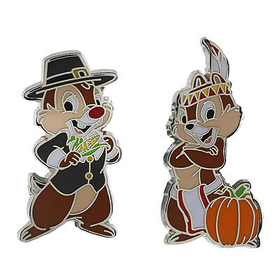 Disney Parks Thanksgiving Chip and Dale Pilgrim & Indian Pin Set Trading Pins