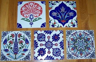"Set of 5 8""x8"" Square Turkish Ottoman Ceramic Iznik Tile Hot Plate Trivet"
