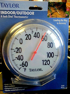 "6"" Indoor / Outdoor Dial Thermometer w/Mounting Bracket by Taylor 5630"