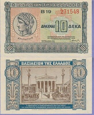 Greece 10 Drachmai Banknote (1940) Uncirculated Condition Cat#314-1548