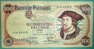 PORTUGAL 500 ESCUDOS NOTE ISSUED 25.01. 1966, P 170 a, DON  JOAO II