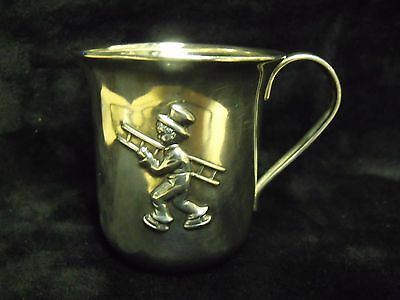 Rare Unique Antique Silverplate Baby Cup With Boy Chimney Sweep Carrying Ladder