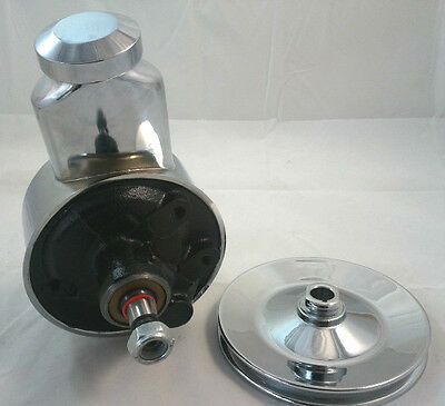 SB Chevy SBC Chevy Early Banjo Style Saginaw Power Steering Pump W/Chrome Pulley