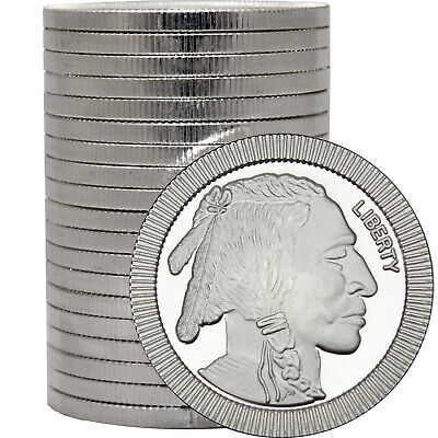 SilverTowne Buffalo Stackables .999 Silver 1oz Med 20 Piece Lot in Tube