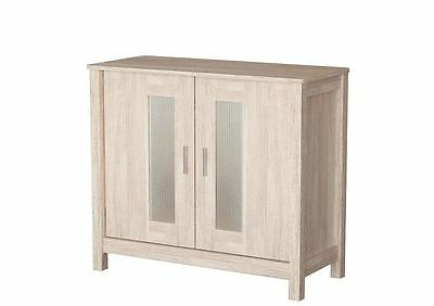 Sonoma White Oak Wooden Sideboard Cabinet Hallway Storage Unit Stand With Doors