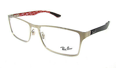 Authentic RAY-BAN Silver Rectangular Eyeglasses Frame RX 8415 - 2538  *NEW* 55mm