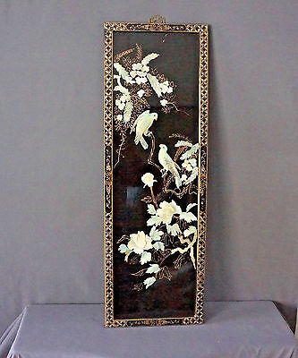 Antique Oriental Floral Birds Mother of Pearl Inlaid Black Lacquer Wall Art