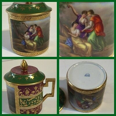 Antique Royal Vienna Hand Painted Raised Gold Covered Mug Cup - PERFECT
