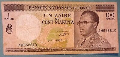CONGO 1 ZAIRE ON 100 MAKUTA NOTE ISSUED 24.11 1967, P 12  a