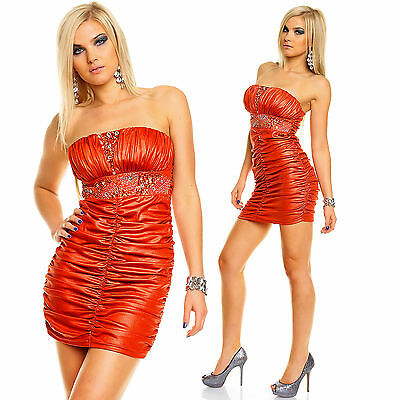 Sexy Top Women Clubbing Red Bandeau Mini Dress Ladies Party Wear Size 8 10 12