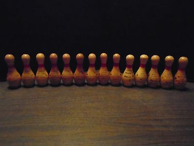 14 Small Vintage Wooden Bowling Pin Trophies - Trophy
