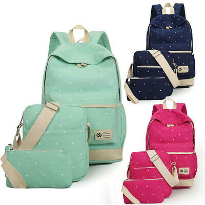 3 Pcs Womens Girls Canvas Bags Backpack Shoulder Bag Travel School bags Rucksack